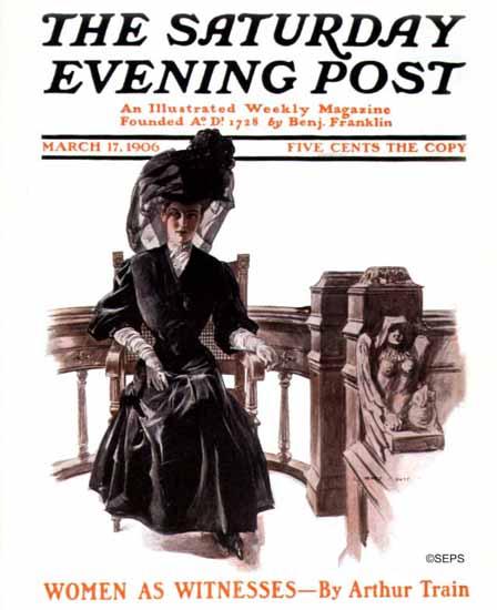 Henry Hutt Saturday Evening Post Women as Witnesses 1906_03_17 | The Saturday Evening Post Graphic Art Covers 1892-1930