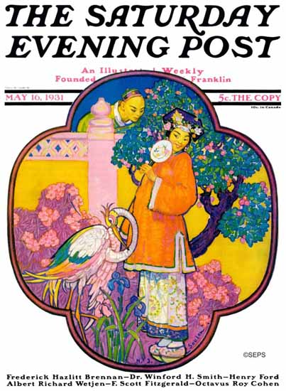 Henry J Soulen Saturday Evening Post Chinese Garden 1931_05_16 | The Saturday Evening Post Graphic Art Covers 1931-1969