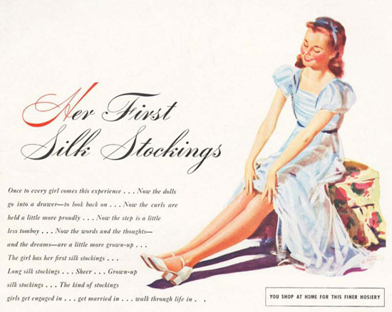 Her First Silk Stockings Finer Hosiery | Vintage Ad and Cover Art 1891-1970