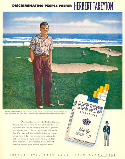Herbert Tareyton Townsend Brown Golf NY 1950 | Vintage Ad and Cover Art 1891-1970