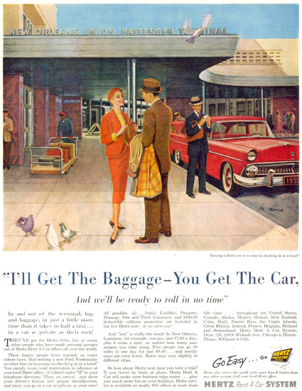 Hertz Rent A Car System Get The Baggage 1955 | Sex Appeal Vintage Ads and Covers 1891-1970
