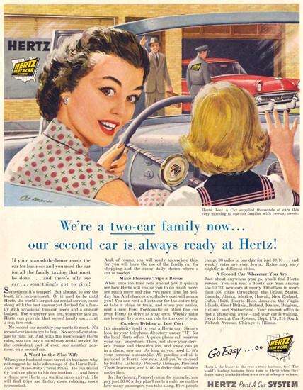 Hertz Rent A Car System Two-Car Family 1955 | Vintage Ad and Cover Art 1891-1970