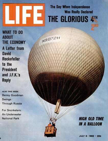 High Old Time in a Balloon 6 Jul 1962 Copyright Life Magazine | Life Magazine Color Photo Covers 1937-1970