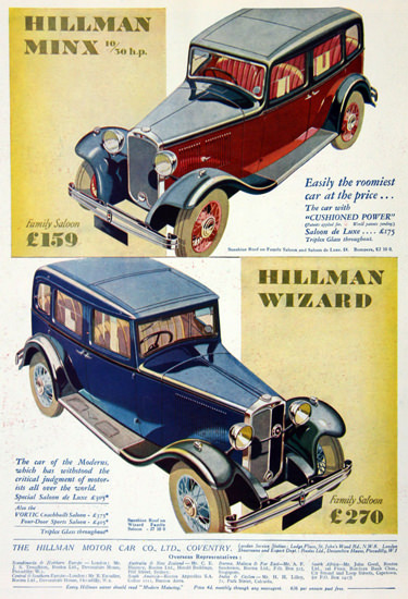 Hillman Minx And Wizard 1932 | Vintage Cars 1891-1970