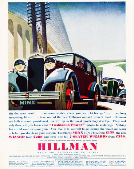 Hillman Minx And Wizard 1933 | Vintage Cars 1891-1970