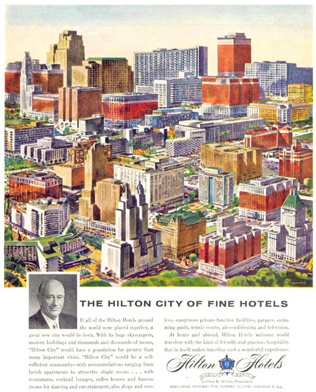 Hilton City Of Fine Hotels 1959 | Vintage Ad and Cover Art 1891-1970