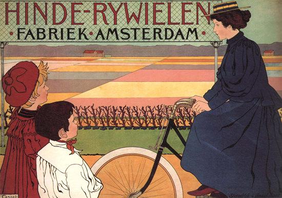 Hinde-Rywielen Fabriek Amsterdam Netherlands | Vintage Travel Posters 1891-1970