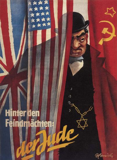 Hinter Den Feindmaechten Der Jude Germany | Vintage War Propaganda Posters 1891-1970