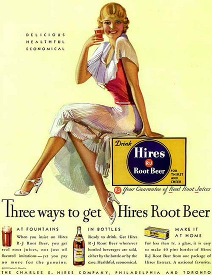 Hires Root Beer Girl Three Ways To Go | Sex Appeal Vintage Ads and Covers 1891-1970