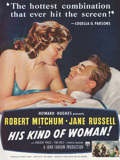 His Kind Of Woman Robert Mitchum Jane Russell 1951 | Sex Appeal Vintage Ads and Covers 1891-1970