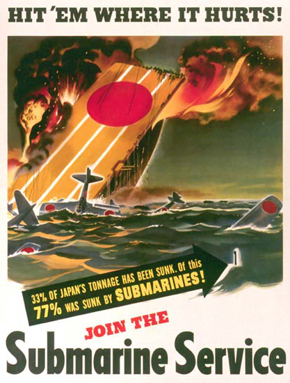 Hit Em Where It Hurts Join Submarine Service | Vintage War Propaganda Posters 1891-1970