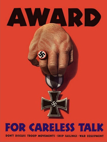 Hitler Swastika Award For Carless Talk | Vintage War Propaganda Posters 1891-1970