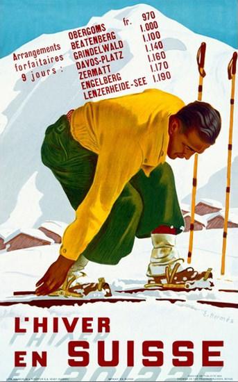 Hiver En Suisse Grindelwald Davos Zermatt | Vintage Travel Posters 1891-1970
