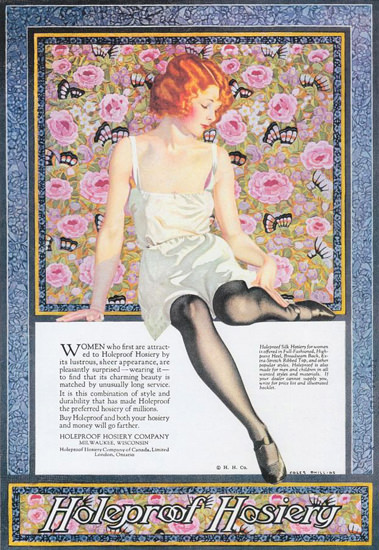 Holeproof Hosiery Women First Attracted 1923 Coles Phillips | Sex Appeal Vintage Ads and Covers 1891-1970