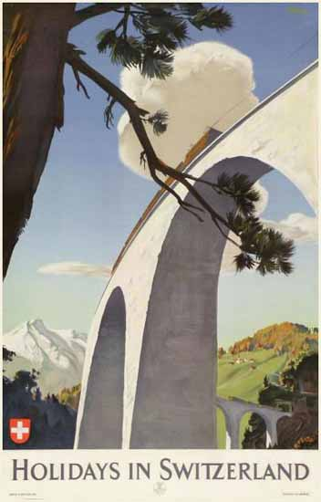 Holidays In Switzerland Viaduct Swiss Alps SVZ 1942 | Vintage Travel Posters 1891-1970