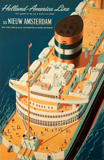 Holland-America Line SS Nieuw Amsterdam 1954 | Vintage Travel Posters 1891-1970