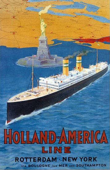 Holland-America Rotterdam New York Boulogne | Vintage Travel Posters 1891-1970