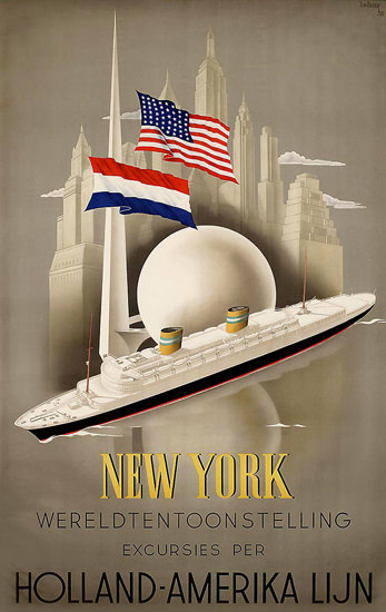 Holland-Amerika Lijn New York 1939 | Vintage Travel Posters 1891-1970