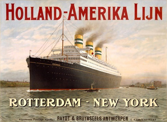 Holland-Amerika Lijn Passenger Liner Rotterdam   Vintage Travel Posters 1891-1970