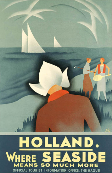 Holland Where Seaside Means Much More 1936 | Vintage Travel Posters 1891-1970