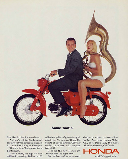 Honda 1964 Some Tootin | Sex Appeal Vintage Ads and Covers 1891-1970
