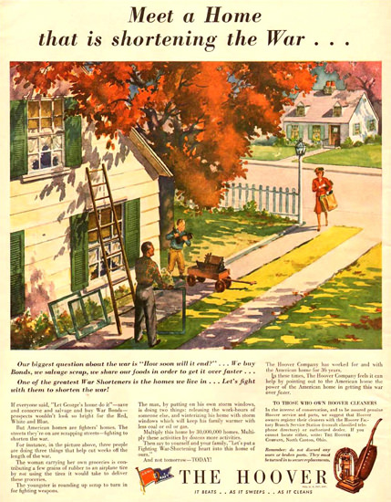 Hoover A Home Is Shortening The War 1943 | Vintage Ad and Cover Art 1891-1970