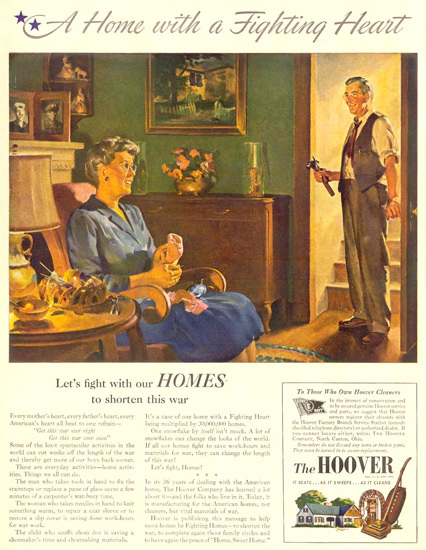 Hoover A Home With A Fighting Heart 1943 | Vintage Ad and Cover Art 1891-1970
