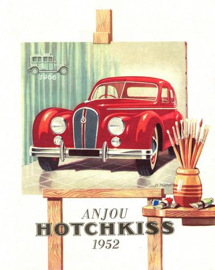 Hotchkiss Anjou 1952 Painting | Vintage Cars 1891-1970