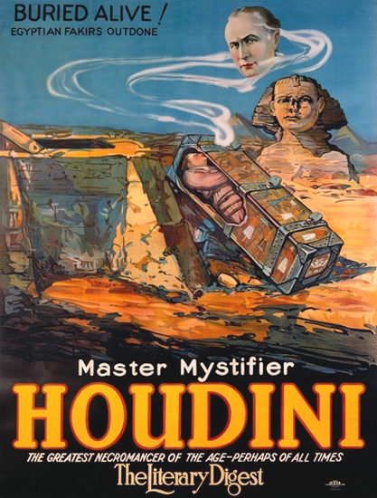 Houdini Master Mystifier Buried Alive Fakirs | Vintage Ad and Cover Art 1891-1970