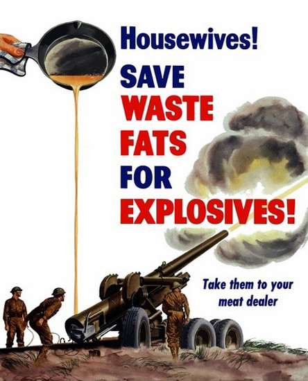 Housewifes Save Waste Fat For Explosives | Vintage War Propaganda Posters 1891-1970