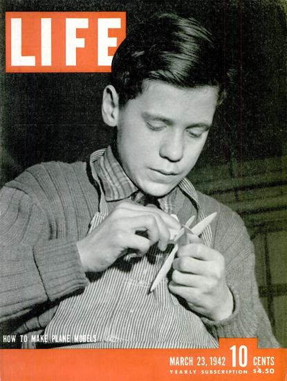 How to make Plane Models 23 Mar 1942 Copyright Life Magazine | Life Magazine BW Photo Covers 1936-1970