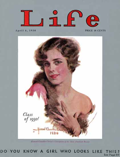 Howard Chandler Christy Life Humor Magazine 1930-04-04 Copyright | Life Magazine Graphic Art Covers 1891-1936