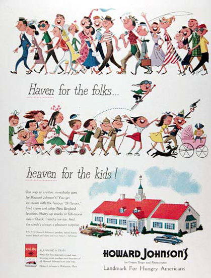 Howard Johnsons 1950 Family Restaurant | Vintage Ad and Cover Art 1891-1970