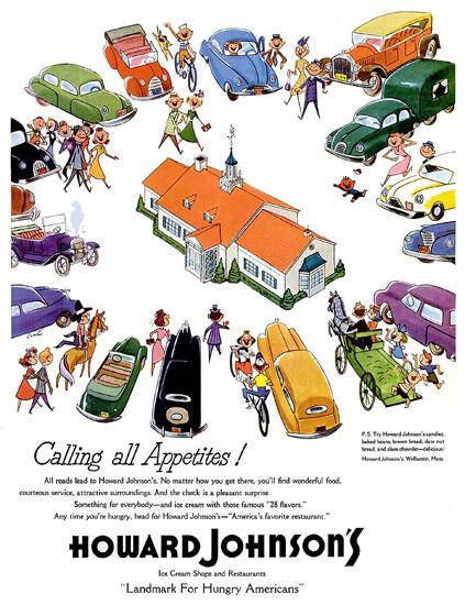 Howard Johnsons Family Restaurant Landmark 1954 | Vintage Ad and Cover Art 1891-1970