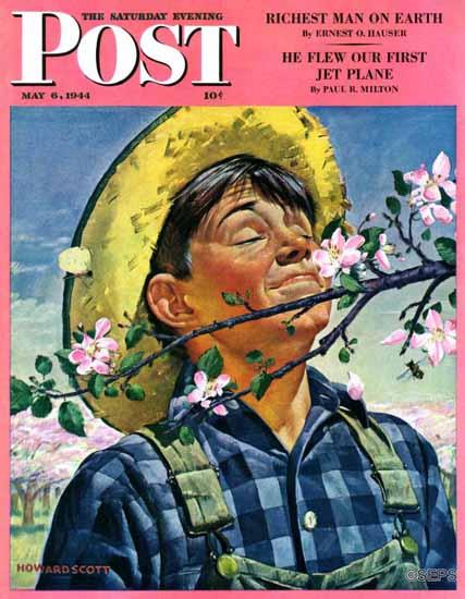 Howard Scott Saturday Evening Post Apple Blossoms 1944_05_06   The Saturday Evening Post Graphic Art Covers 1931-1969
