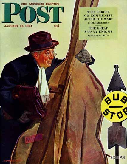 Howard Scott Saturday Evening Post Bass Fiddle at Bus Stop 1944_01_22 | The Saturday Evening Post Graphic Art Covers 1931-1969