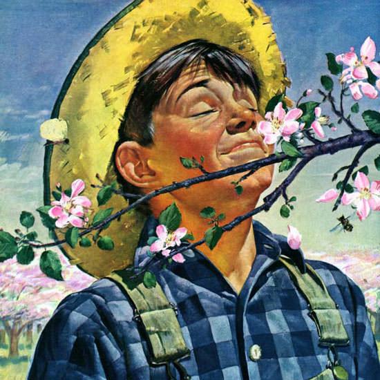 Howard Scott Saturday Evening Post Blossoms 1944_05_06 Copyright crop | Best of Vintage Cover Art 1900-1970