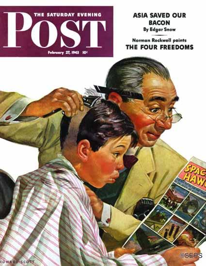 Howard Scott Saturday Evening Post Comical Haircut 1943_02_27 | The Saturday Evening Post Graphic Art Covers 1931-1969