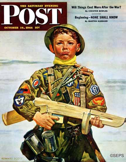 Howard Scott Saturday Evening Post Commando Kid 1944_10_14 | The Saturday Evening Post Graphic Art Covers 1931-1969