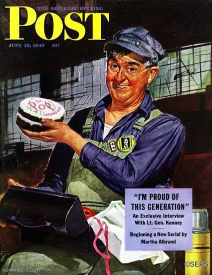 Howard Scott Saturday Evening Post Happy Fathers Day 1943_06_19 | The Saturday Evening Post Graphic Art Covers 1931-1969
