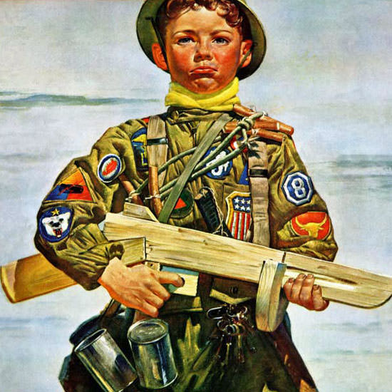 Howard Scott Saturday Evening Post Kid 1944_10_14 Copyright crop | Best of Vintage Cover Art 1900-1970