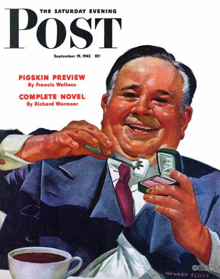 Howard Scott Saturday Evening Post Sugar Cube 1942_09_19 | The Saturday Evening Post Graphic Art Covers 1931-1969