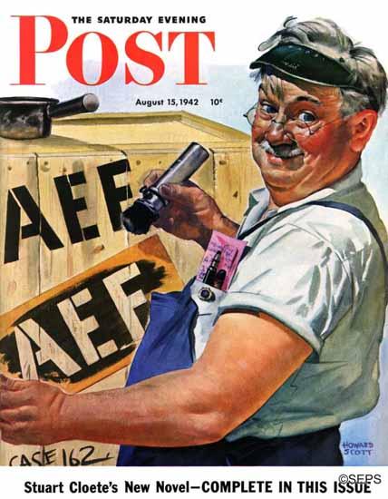 Howard Scott Saturday Evening Post Supplies Overseas 1942_08_15 | The Saturday Evening Post Graphic Art Covers 1931-1969