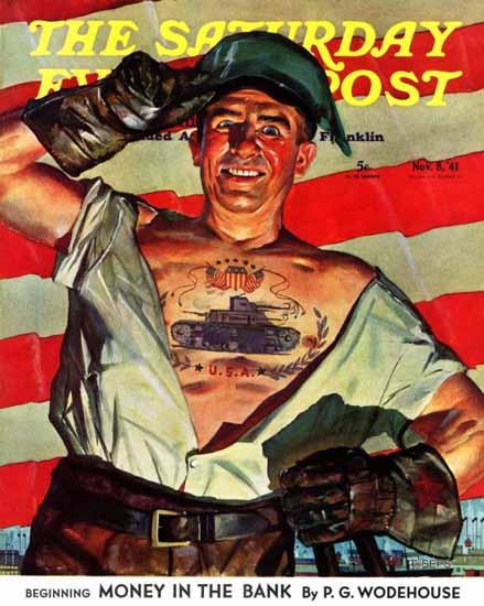 Howard Scott Saturday Evening Post Tank Tattoo 1941_11_08 | The Saturday Evening Post Graphic Art Covers 1931-1969