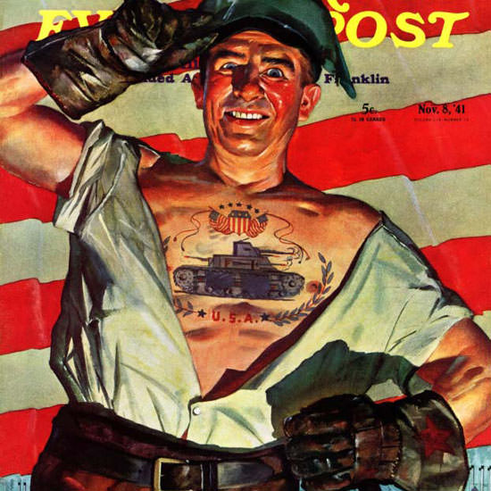 Howard Scott Saturday Evening Post Tattoo 1941_11_08 Copyright crop   Best of Vintage Cover Art 1900-1970