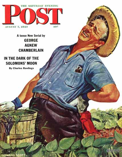 Howard Scott Saturday Evening Post Victory Garden 1943_08_07 | The Saturday Evening Post Graphic Art Covers 1931-1969