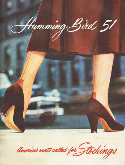 Humming Bird 1951 Americas Called Stockings | Sex Appeal Vintage Ads and Covers 1891-1970