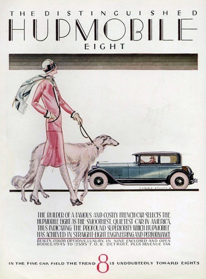 Hupmobile 8 Automobile Distinguished Greyhound | Sex Appeal Vintage Ads and Covers 1891-1970