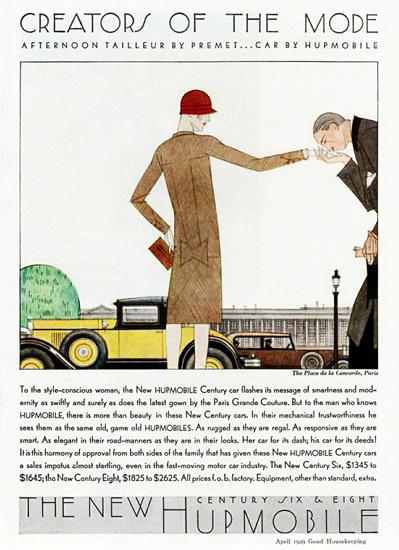 Hupmobile Century Cabriolet 1929 Paris by Bernard Boutet de Monvel   Vintage Cars 1891-1970