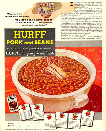 Hurff Pork And Beans 1937   Vintage Ad and Cover Art 1891-1970